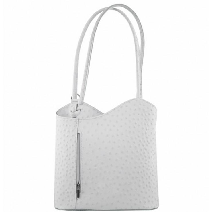 Kožená kabelka na rameno/batoh 1260 biela Made in Italy