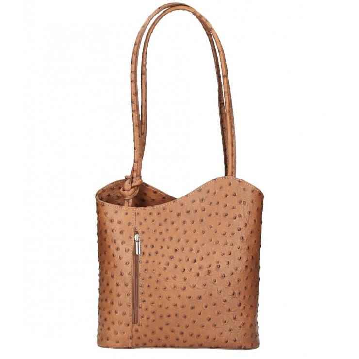 Kožená kabelka na rameno/batoh 1260 koňaková Made in Italy