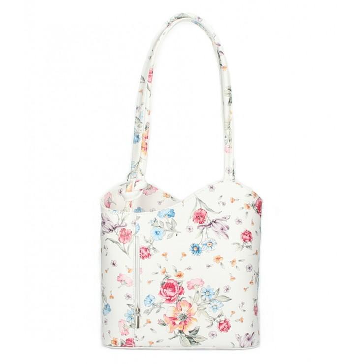 Kožená kabelka na rameno/batoh 1260 biela s kvetmi Made in Italy