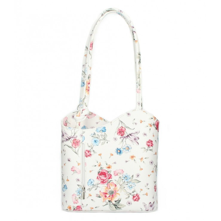 Leather shoulder bag/Backpack 1260 white with flowers Made in Italy