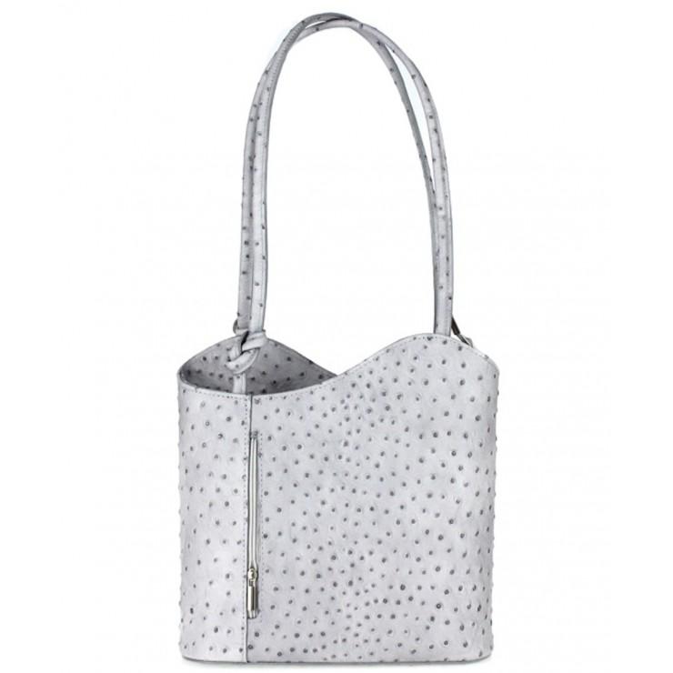 Kožená kabelka na rameno/batoh 1260 šedá Made in Italy