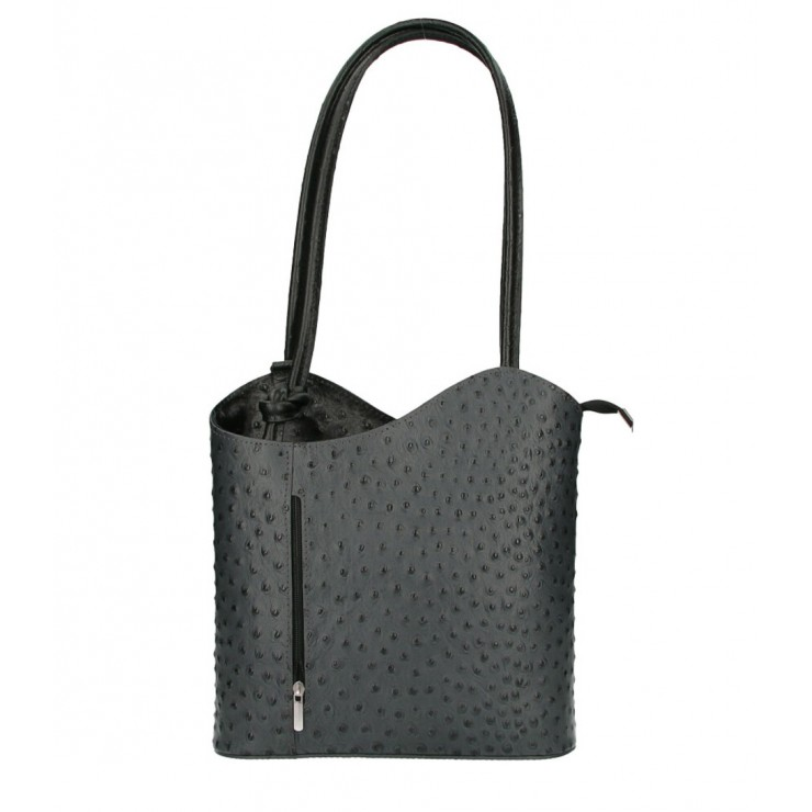Kožená kabelka na rameno/batoh 1260 čierna Made in Italy