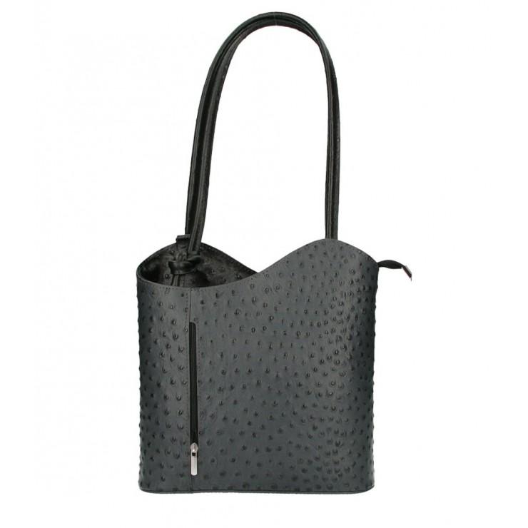 Leather shoulder bag/Backpack 1260 black Made in Italy
