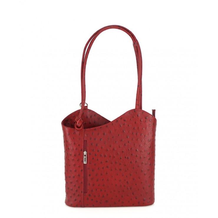 Kožená kabelka na rameno/batoh 1260 červená Made in Italy