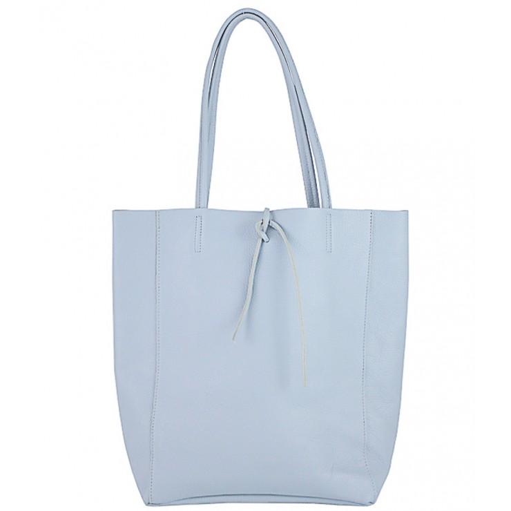 Kožená shopper kabelka 396 nebesky modrá