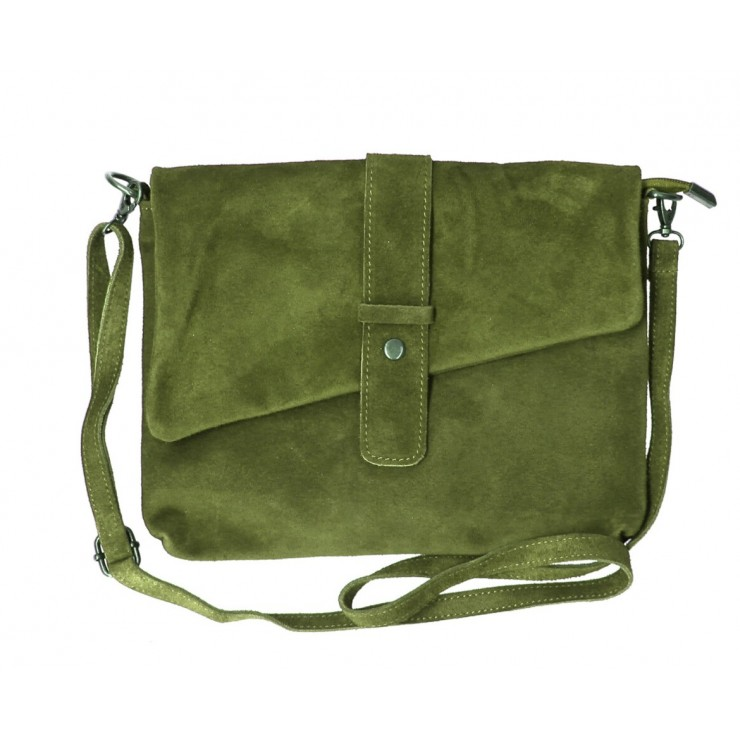 Genuine Leather Handbag 442 military green Made in Italy