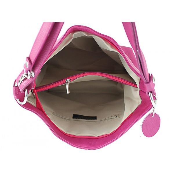 Kožená kabelka na rameno 729 strieborná Made in Italy Strieborná