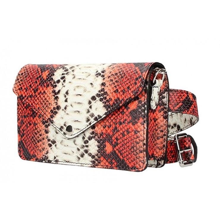 Červená kožená kabelka na rameno/na opasok 1002 Made in Italy