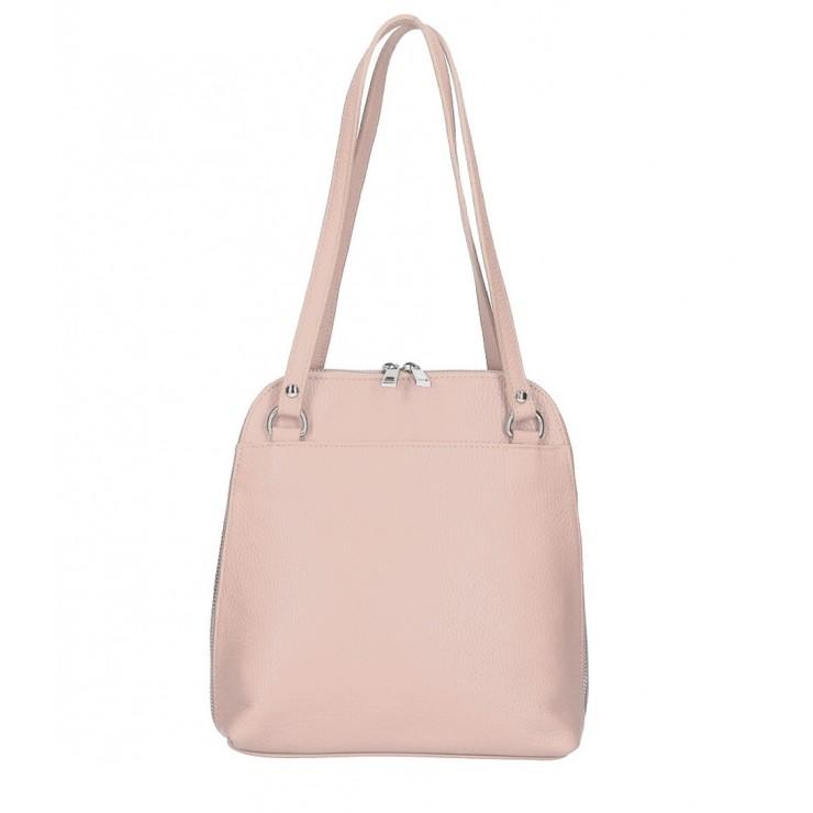 Kožená kabelka na rameno/batoh MI38 pudrovo ružová Made in Italy