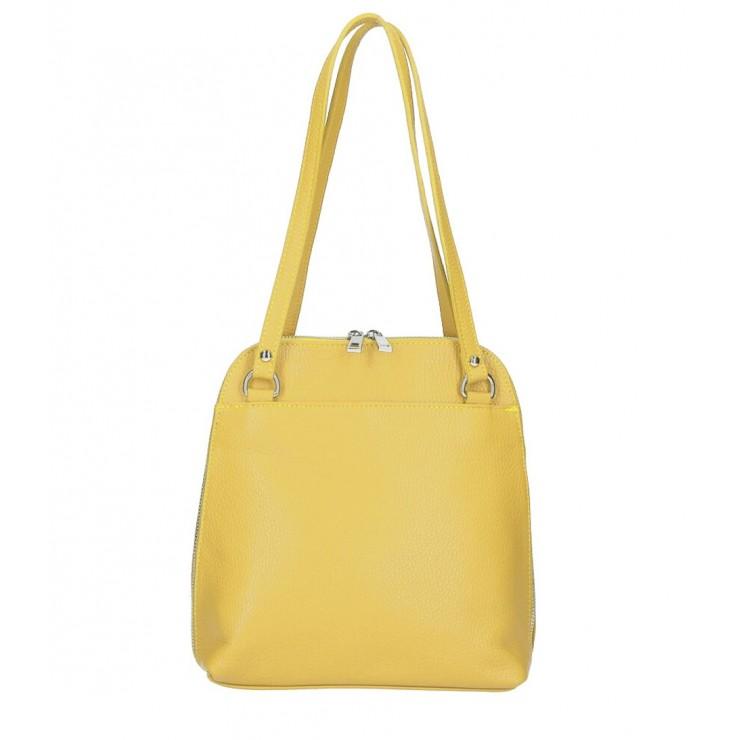 Leather shoulder bag/Backpack MI38 mustard Made in Italy