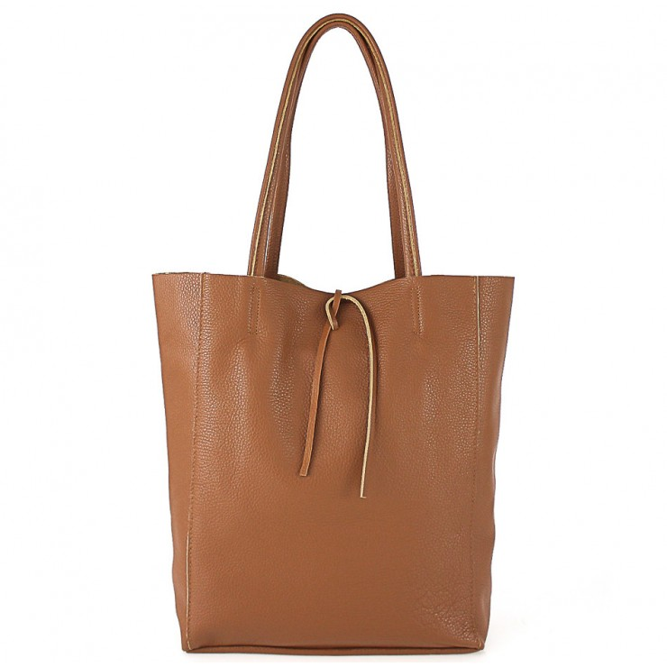 Genuine Leather Maxi Bag 396 cognac