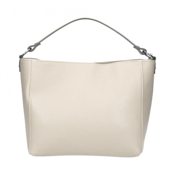 Genuine Leather Handbag 1268 beige Made in Italy