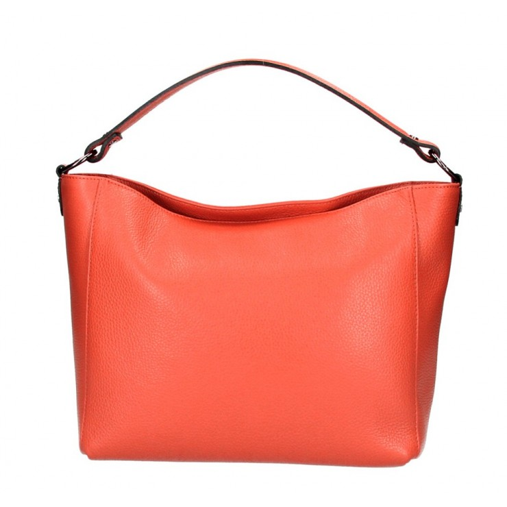 Genuine Leather Handbag 1268 coral Made in Italy