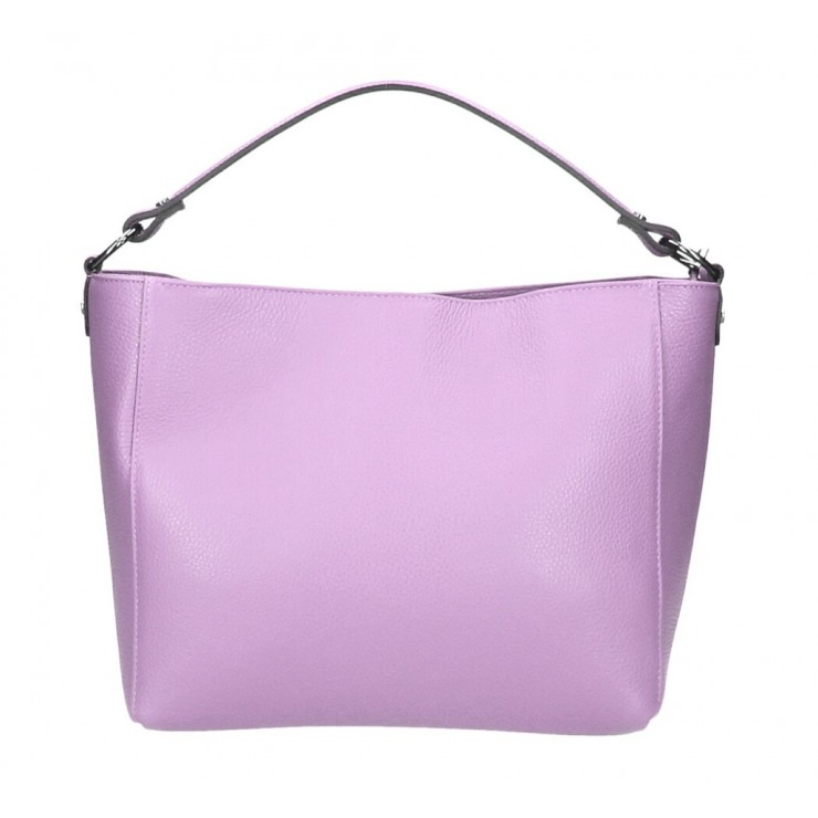Genuine Leather Handbag 1268 light purple Made in Italy