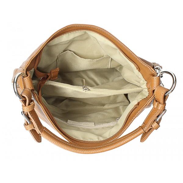 Kožená kabelka na rameno 210 béžová Made in Italy Béžová