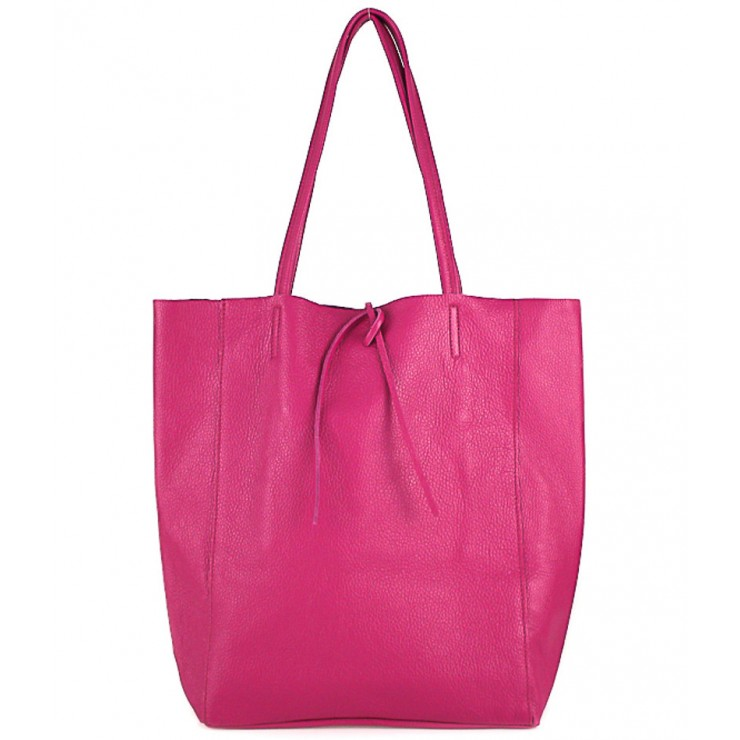 Genuine Leather Maxi Bag 396 fuxia