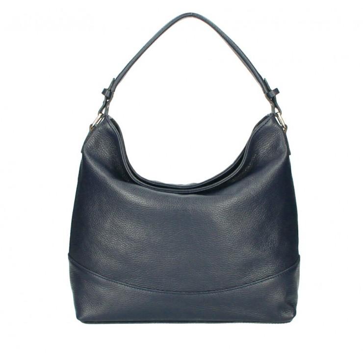 Genuine Leather Handbag MI96 dark blue Made in Italy