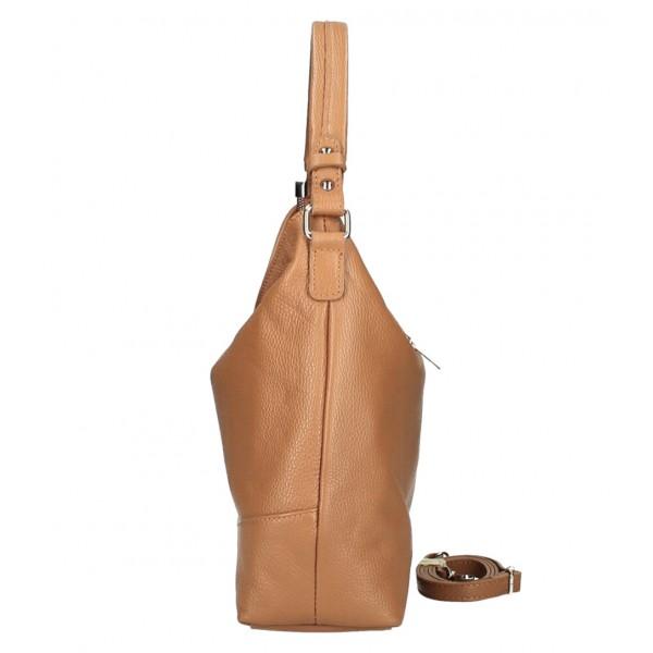 Kožená kabelka MI96 koňaková Made in Italy Koňak