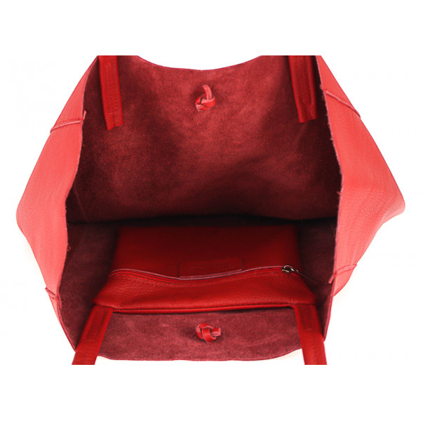 Kožená shopper kabelka 396 fuchsia MADE IN ITALY Fuchsia