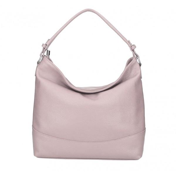 Kožená kabelka MI96 pudrovo ružová Made in Italy Pudrová ružová
