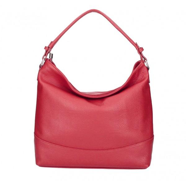 Kožená kabelka MI96 červená Made in Italy Červená