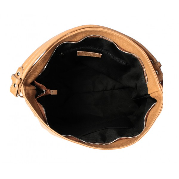 Kožená kabelka MI96 šedohnedá Made in Italy Šedohnedá