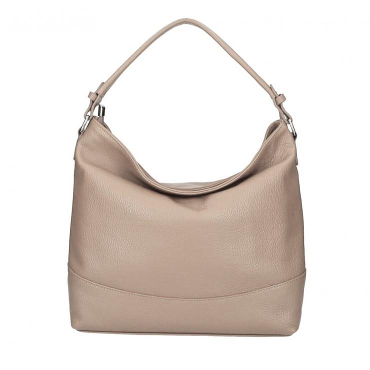 Genuine Leather Handbag MI96 gray-brown Made in Italy