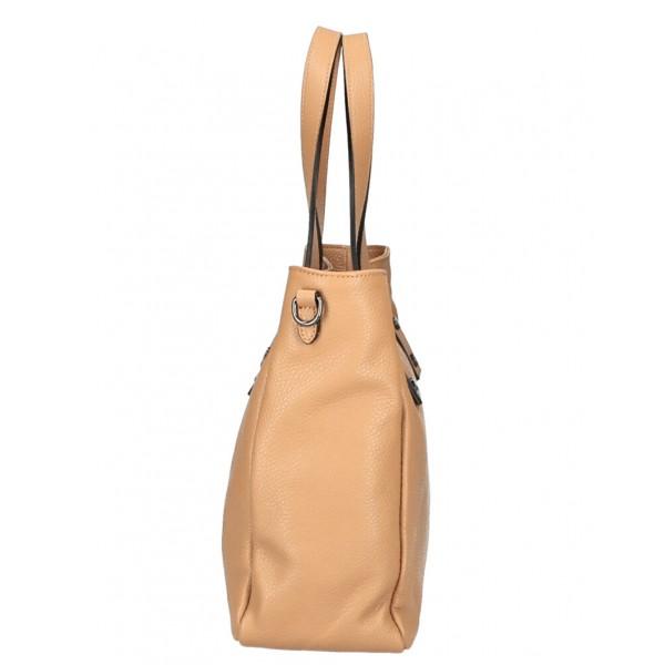 Kožená kabelka MI97 béžová Made in Italy Béžová