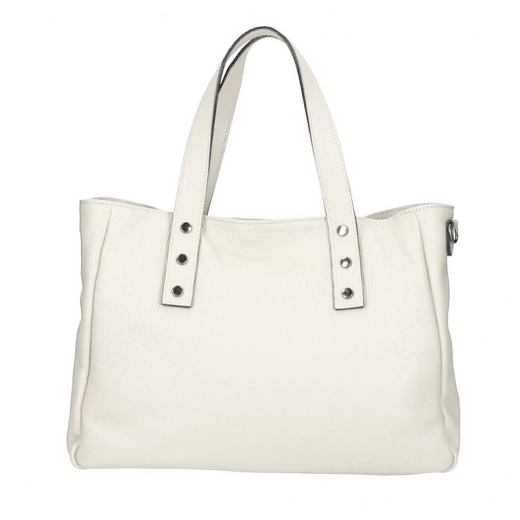 Genuine Leather Handbag MI97 beige Made in Italy