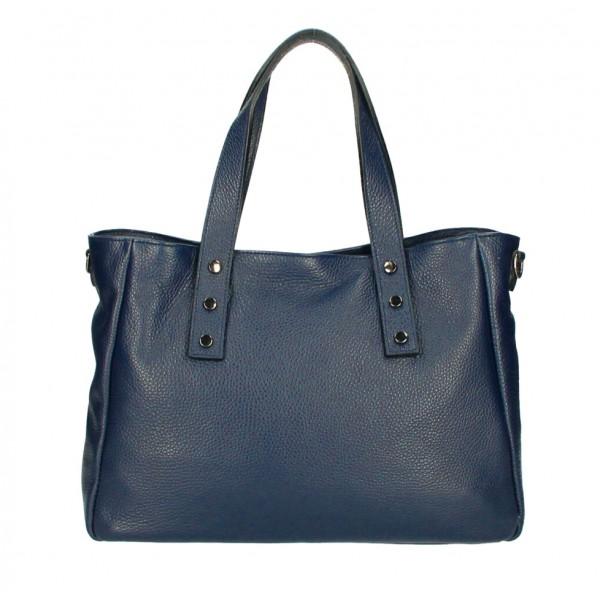 Kožená kabelka MI97 tmavomodrá Made in Italy Modrá