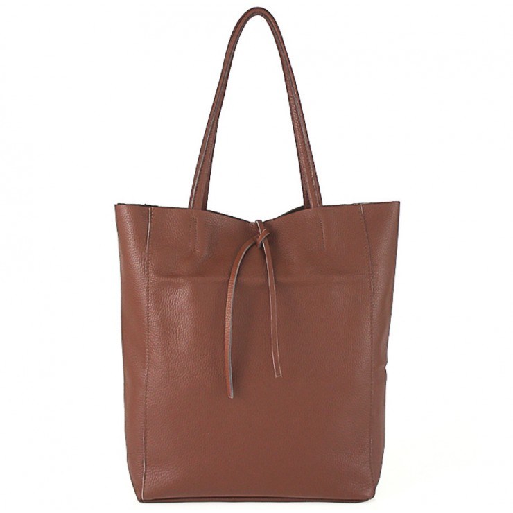 Genuine Leather Maxi Bag 396 brown