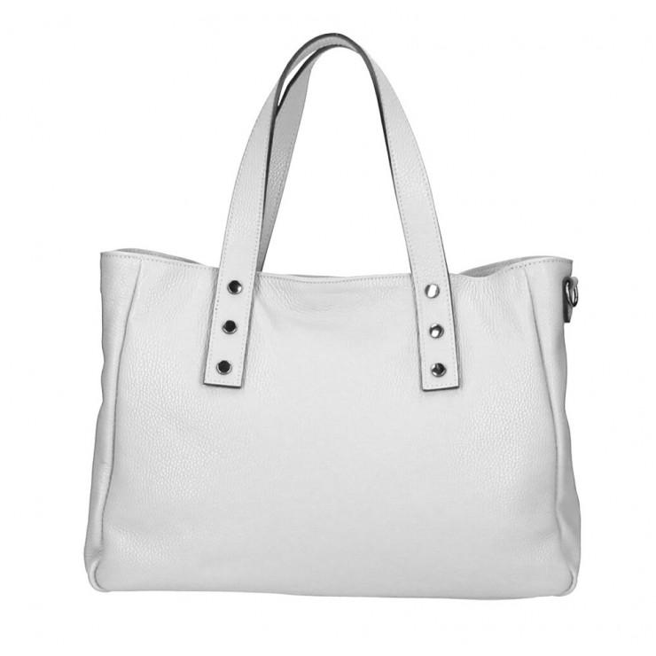 Genuine Leather Handbag MI97 pearl gray Made in Italy