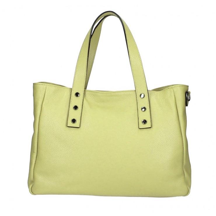 Genuine Leather Handbag MI97 moss Made in Italy