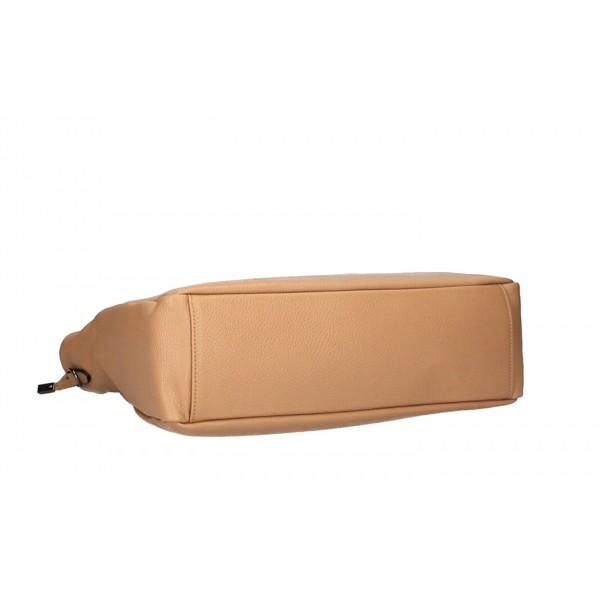 Kožená kabelka MI97 šedohnedá Made in Italy Šedohnedá