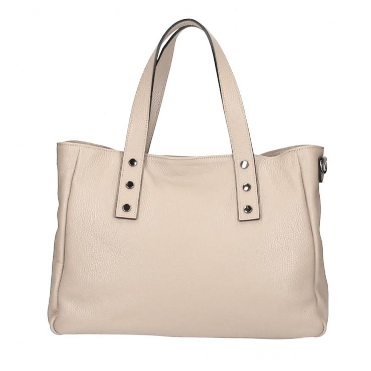 Genuine Leather Handbag MI97 gray-brown Made in Italy