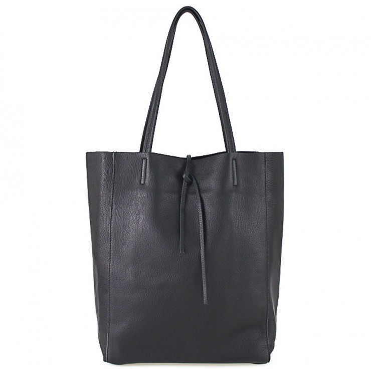 Genuine Leather Maxi Bag 396 black