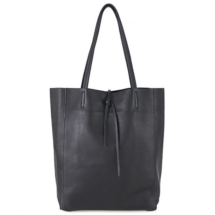 Kožená shopper kabelka 396 čierna