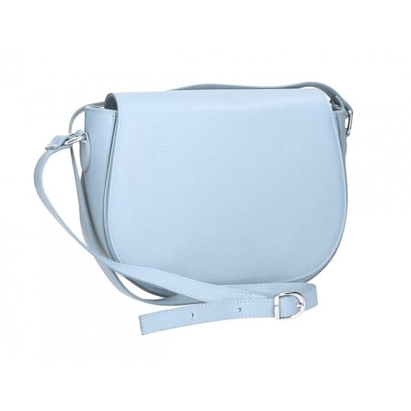 Kožená kabelka na rameno MI102 nebesky modrá Nebesky modrá