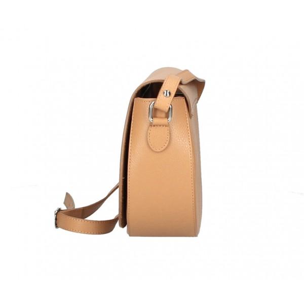 Kožená kabelka na rameno MI102 čierna Čierna