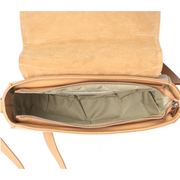 Kožená kabelka na rameno MI102 okrová Okrová