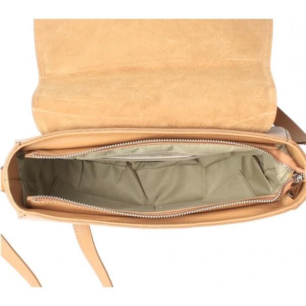 Kožená kabelka na rameno MI102 vojensky zelená Zelená