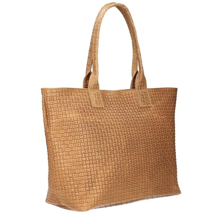 Genuine Leather Maxi Bag MI111 cognac