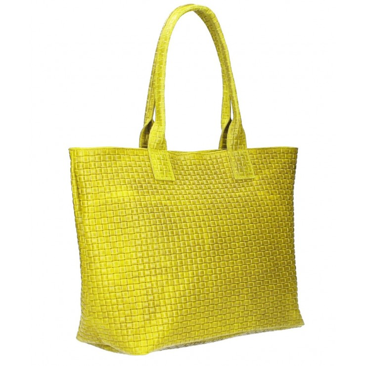 Genuine Leather Maxi Bag MI111 yellow