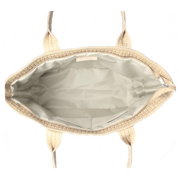 Kožená kabelka Maxi MI111 šedá Šedá