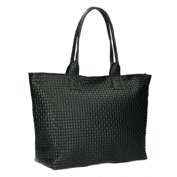 Kožená kabelka Maxi MI111 čierna Čierna