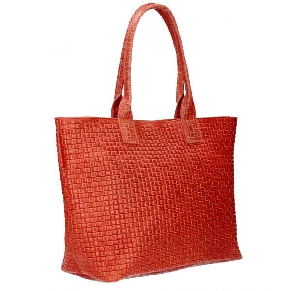 Kožená kabelka Maxi MI111 červená Červená