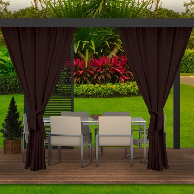 Garden curtain on the terrace MIG143 dark brown