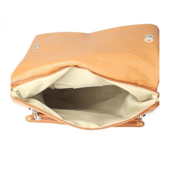 Kožená kabelka na rameno MI104 béžová Béžová