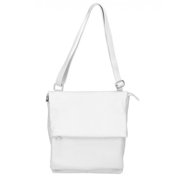 Kožená kabelka na rameno MI104 biela Biela