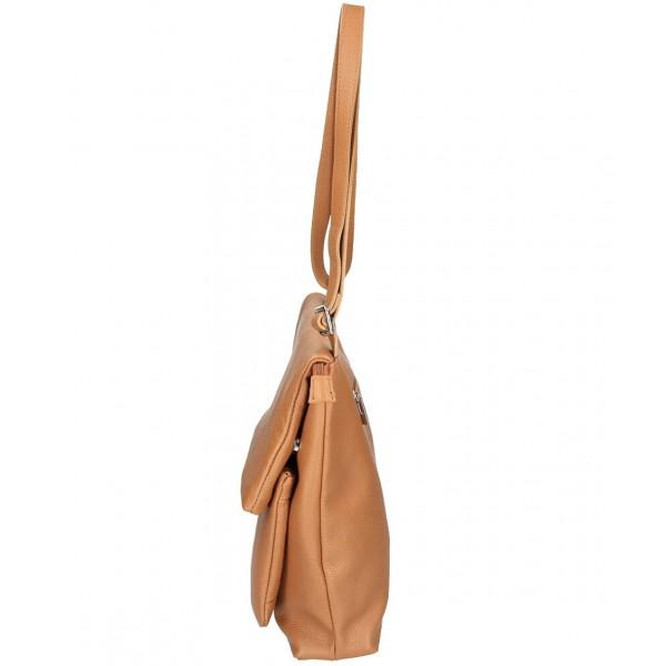 Kožená kabelka na rameno MI104 pudrovo ružová Pudrová ružová